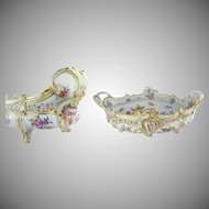 """Grandest  19 ½"""" Antique Porcelain Center Bowl ~ Flowers and Awesome Gilding ~ Extraordinary Footed Base ~  It is a Masterpiece"""