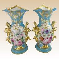 "Exquisite 14 ½"" Antique French Porcelain Vases ~  Old Paris Masterpiece Pair ~ Beautiful BIG Old Paris Vases from My Treasure Vault"