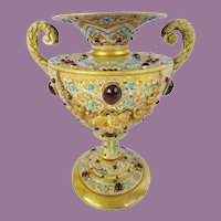 Austrian Jeweled Bronze Double Handle Enamel Urn ~  LOADED with GEMS