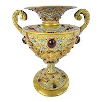 Austrian Jeweled Bronze Double Handle Enamel Urn ~  LOADED with GEMS