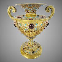 Austrian Jeweled Bronze Double Handle Enamel Urn ~ LOADED with GEMS ~ A JEWELED MASTERPIECE Vase Urn