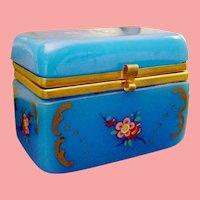 Antique Opaline Casket Hinged Box  ~ Glorious Blue Opaline