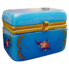 Antique Opaline Casket Hinged Box  ~ Glorious Blue Opaline