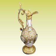 """Palais Royal White Opaline Ewer """" Four Miniatures""""  ~ 10"""" Ewers is Dripping in Gilt Ormolu Lace ~  PUTTI"""