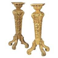 Antique French Carved Gilt Wood Pedestals Stands Tables   ~  GRANDEST