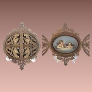 """19C Double Door Carved Frame with Oval Hand Painted Porcelain """" Winged Cherubs"""" MASTERPIECE CARVED FRAME"""