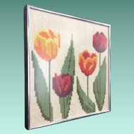 Beautiful Tulip Needlepoint Framed ~ Colorful Tulips in Silver Metal Frame ~ Lovely Colors