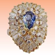 Exquisite Diamond and Pear Shape Sapphire 14KARAT  Ring