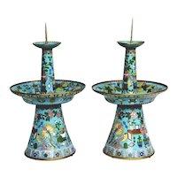"Grandest 17"" Antique Chinese Cloisonne' Candlesticks"