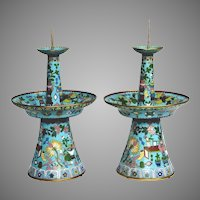 "Grandest 17"" Antique Chinese Cloisonne' Candlesticks"