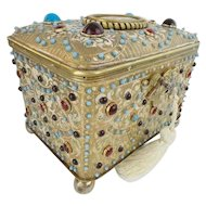 1900 Austrian Jeweled Bronze Enamel Casket Hinged Box ~ Stunning PUTTI Porcelain Plaque ~  LOADED with GEMS ~ A MASTERPIECE Casket