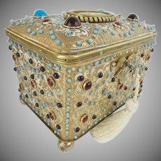 1900 Austrian Jeweled Bronze Enamel Casket Hinged Box ~ Stunning PUTTI Porcelain Plaque ~  LOADED with GEMS ~ A MASTERPIECE Casket