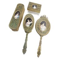 19C French Limoges Enamel Portrait  Vanity Set ~ Hand Mirror, 2 Brushes, and Crystal Box ~ Each Pieces has a Stunning  Limoges Enamel Portrait