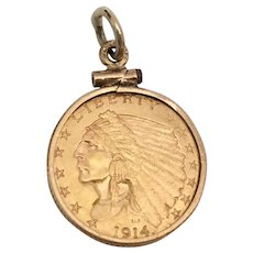 1914  $2.50 Indian Head Gold Quarter Eagle Coin Pendant in 14 KARAT Gold Frame ~ Ready to Wear and Enjoy a Piece of American Gold Coin History.