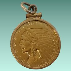 1908 $2.50 Indian Head Gold Quarter Eagle Coin Pendant in 14 KARAT Gold Frame ~  Ready to Wear and Enjoy a Piece of American Gold Coin History