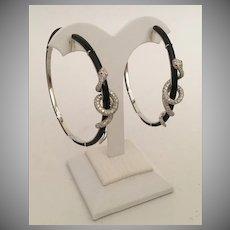 "Glorious Estate 18KARAT Diamond Black Onyx  SNAKE  Earrings  ~  ""RUBY EYES"" ~ KILLER EARRINGS and Very Fine"