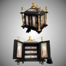 19C Viennese Enamel Ebony Bronze Cabinet Box ~ 14 Plaques, Putti s and a Regal Jeweled Lion Finial ~  Absolutely A Miniature MASTERPIECE