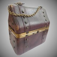 Antique English 11 Piece Etui  Necessaire  ~ Leather Dome Top Box  with Unique Brass Studs and a Chain Handle.
