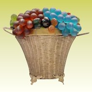 Stunning Czech Glass Fruit Lamp ~ Beautiful Gilt Wire Double Handle Basket Over Flowing with Glass Fruit