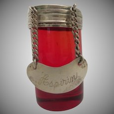 Antique Ruby and  Sterling Aspirin  Bottle ~ Beautiful Ruby Bottle with  Sterling Top ~  ASPIRIN Engraved Tag