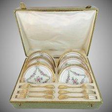 Grandest Antique French Mechun C. P. & Co. Porcelain Dessert Service ~  Original Presentation Case ~ 12 Magnificent Pieces