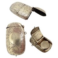 Rare Antique Silver Plated Vesta Match Safe with Striker, Coin holder, and Stamp/Photo