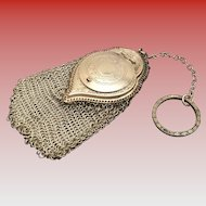 Antique Silver Coin Holder Purse Chatelaine with a Engraved Finger Ring ~ Stunning  Engraved Top ~ Superior Quality