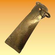 Eureka Brass Chatelaine Skirt Lifter- Patent 2586 Registered June 1877