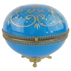 "Antique French Blue Opaline Casket Hinged Box ~  Gilt Paw Foot Base ~  Opaline is Deep Cut/etched with Gilding in a Beautiful Ornate Design ~ 1"" Lacey Gilt Mounts and an S Clasp"