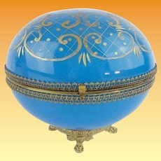 """Antique French Blue Opaline Casket Hinged Box ~  Gilt Paw Foot Base ~  Opaline is Deep Cut/etched with Gilding in a Beautiful Ornate Design ~ 1"""" Lacey Gilt Mounts and an S Clasp"""