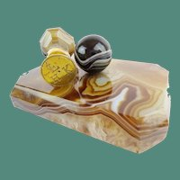 Antique Agate Desk Set ~  Paper Weight and  Matching Wax Seal