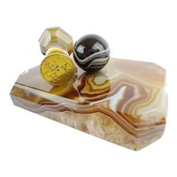 Antique Agate Desk Set ~  Paper Weight and  Matching Wax Seal ~ Beautiful Agate