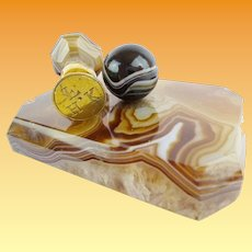 Antique Agate Desk Set ~  Paper Weight and  Matching Wax Seal ~