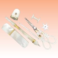 Exquisite Palais Royal Mother of Pearl  7 Piece ETUI ~ All Original 7 Pieces. Scissors and Thimble with the Pansy ~   A Mother of Pearl Palais Royal Masterpiece