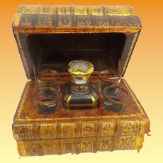 French Book  Tantalus  ~  Four Stacked Leather-Bound Books  Opens to Reveal A  Decanter and Four Glasses