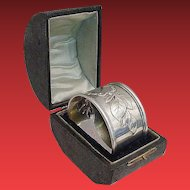 "Grandest Antique Silver Napkin Ring  "" Presentation Hinged Box"""