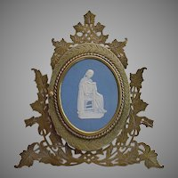 Magnificent  Antique Bronze Blue Jasperware Easel Back Frame ~ Fabulous Double Bronze Photo Frame ~  Wedgwood Plaque