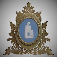 """Very Fine Antique Bronze Blue Jasperware Easel Back Frame ~ Fabulous Double Bronze Photo Frame is Ready for Your 5 ½"""" x 4"""" Photos ~ Lovely Large Wedgwood Plaque."""