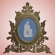 Magnificent  Antique Bronze Blue Jasperware Easel Back Frame ~ Fabulous Double Bronze Photo Frame ~  Wedgwood Plaque
