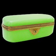 "Antique French  Green Casket Hinged Box  ""AWESOME GREEN"""