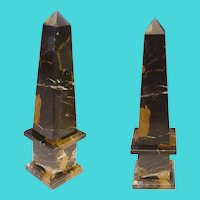 MMD  Vintage  Italian Classical Style Mottled Black Marble Obelisk  ~ Marble Black with Caramel and White Striations.