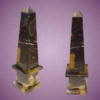 Stunning Italian Classical Style Mottled Black Marble Obelisk ~ Marble Black with Caramel and White Striations.