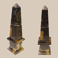 Vintage  Italian Classical Style Mottled Black Marble Obelisk  ~ Marble Black with Caramel and White Striations.