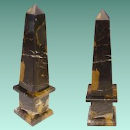 Italian Classical Style Mottled Black Marble Obelisk ~ Marble Black with Caramel and White Striations.