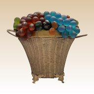 """Czech Glass Fruit Lamp """"Double Handle Wire Footed Basket"""""""