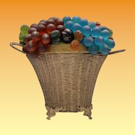 "Czech Glass Fruit Lamp ""Double Handle Wire Footed Basket"""