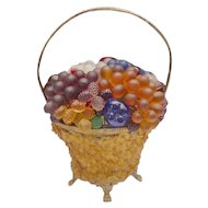 Czech Glass Fruit and Glass Flowers Basket Lamp ~ Glass Flower Basket: ~
