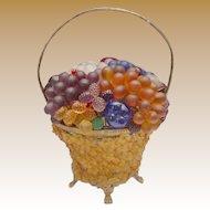 Czech Glass Fruit and Glass Flowers Basket Lamp ~ Glass Flower Basket: ~