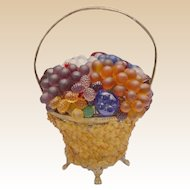 "Czech Glass Fruit and Glass Flowers Basket Lamp ""Glass Flower Basket:"""