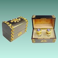 """Fabulous Antique French Dome Top Jeweled Scent Casket """"Twin Bottles"""""""
